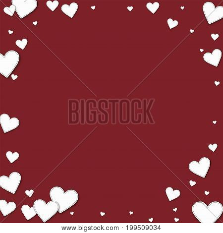Cutout Paper Hearts. Corner Frame On Wine Red Background. Vector Illustration.