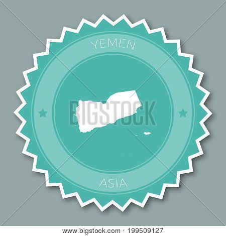 Yemen Badge Flat Design. Round Flat Style Sticker Of Trendy Colors With Country Map And Name. Countr