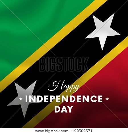 Banner or poster of Saint Kitts and Nevis independence day celebration. Waving flag. Vector illustration.