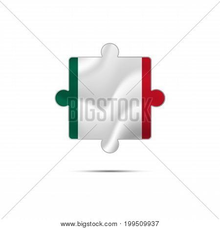 Isolated piece of puzzle with the Mexico flag. Vector illustration.