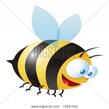 Comic Illustration Of A Bee