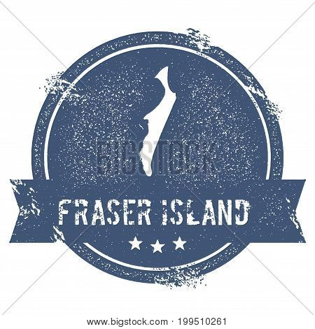 Fraser Island Logo Sign. Travel Rubber Stamp With The Name And Map Of Island, Vector Illustration. C