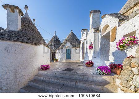 Trullo Siamese Alberobello city Apulia region Italy.
