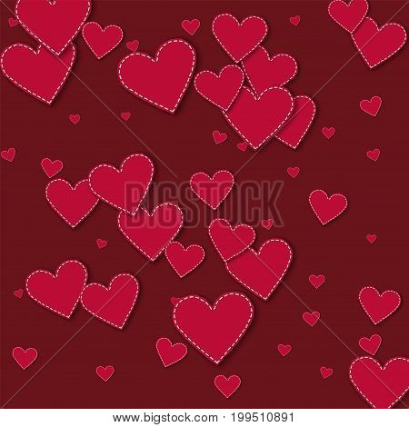 Red Stitched Paper Hearts. Scattered Pattern On Wine Red Background. Vector Illustration.