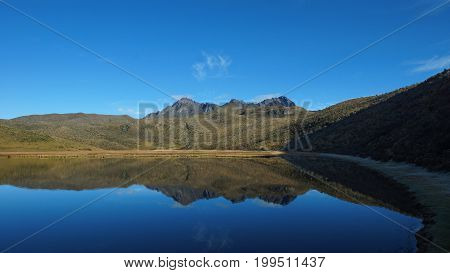 View of the Limpiopungo lagoon with the volcano Ruminahui reflected in the water on a clear morning - Ecuador