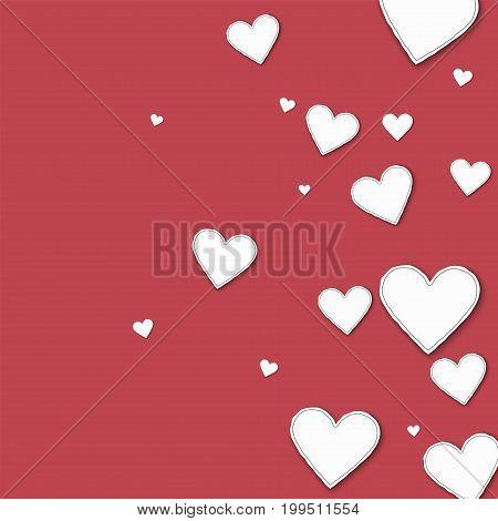 Random Paper Hearts. Right Gradient On Crimson Background. Vector Illustration.