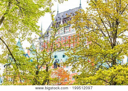 Quebec City Canada - May 30 2017: View of Chateau Frontenac by old town Montmorency Park National Historic Site