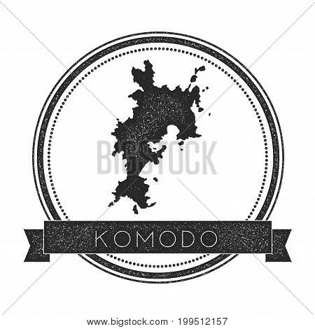 Komodo Map Stamp. Retro Distressed Insignia. Hipster Round Badge With Text Banner. Island Vector Ill