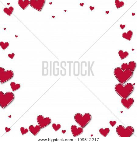 Cutout Red Paper Hearts. Chaotic Border On White Background. Vector Illustration.