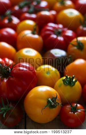 Tomato of different varieties on a wooden background