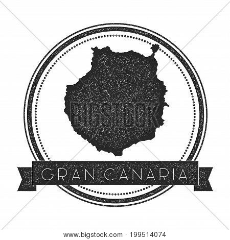 Gran Canaria Map Stamp. Retro Distressed Insignia. Hipster Round Badge With Text Banner. Island Vect