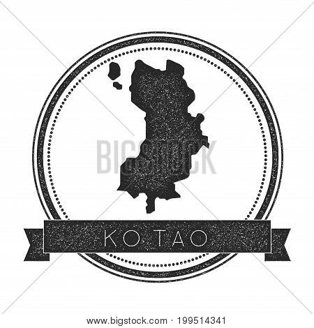 Ko Tao Map Stamp. Retro Distressed Insignia. Hipster Round Badge With Text Banner. Island Vector Ill