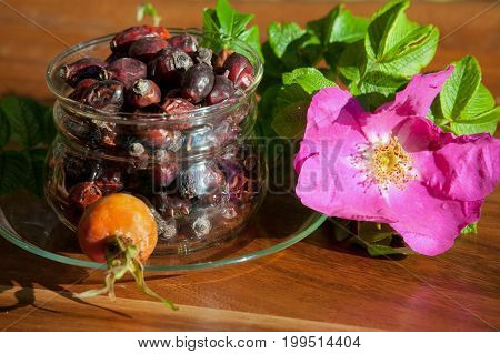Cup with dry berries of a dogrose. Concept of preparation of healthy drink. Herbal medicine