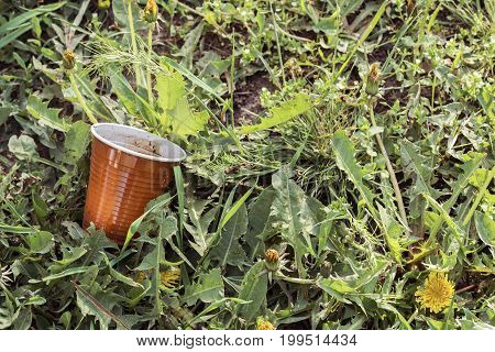 Plastic cup (waste and garbage) lying on green grass. The problem of environmental contamination