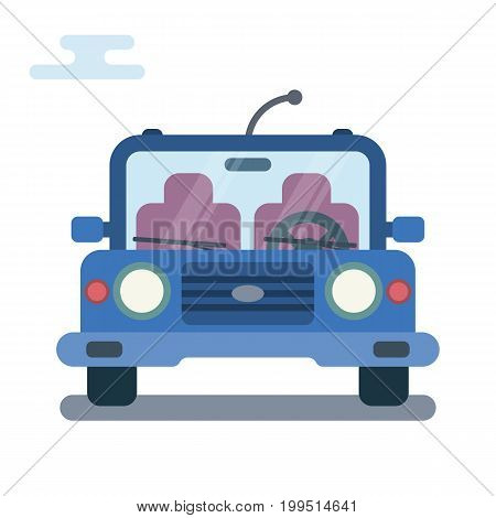 Vector modern flat cartoon illustration of front side of stylized car.