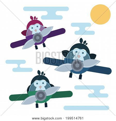 Vector penguins characters stylized as pilots in the airplanes.. Modern flat illustration.