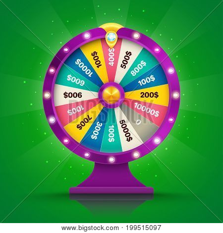 Realistic retro spinning wheel of fortune or luck. Vector illustration