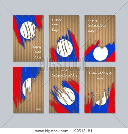 Laos Patriotic Cards For National Day. Expressive Brush Stroke In National Flag Colors On Kraft Pape