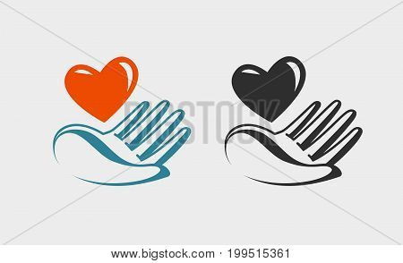 Hand holding red heart, icon or symbol. Love, charity, charitable donation logo