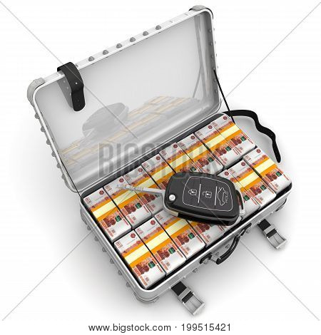 Money to buy a car. Car key is lying on open suitcase filled with packs of Russian rubles. Isolated. 3D Illustration