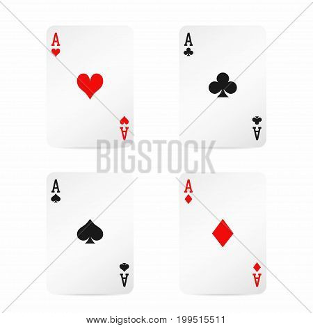 Four Aces. Playing Cards With Shadow Isolated On White Background