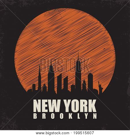 New York Brooklyn typography for t shirt print. T shirt graphics with city skyline silhouette. Vintage tee print. Vector