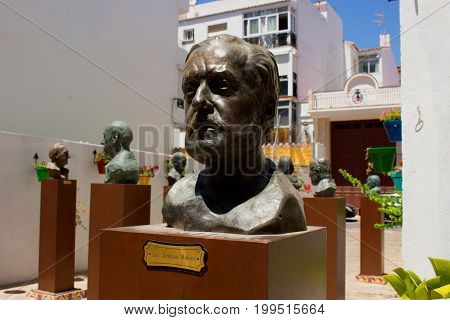 Garden of the Andalusian poets. Estepona city, Costa del Sol, Andalusia, Spain. 1 august 2017.