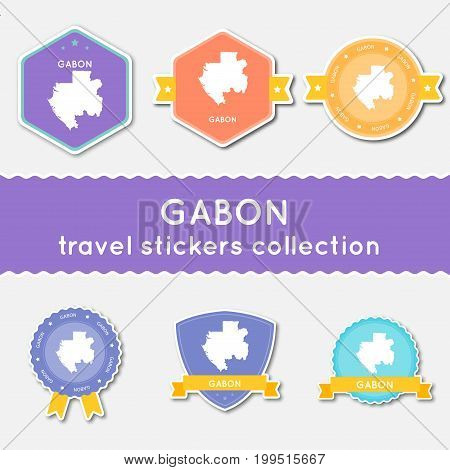 Gabon Travel Stickers Collection. Big Set Of Stickers With Country Map And Name. Flat Material Style