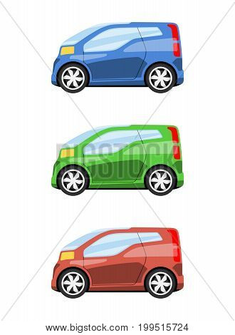 Set of cars side view different colors. Futuristic city van car icon detailed. Vector illustration.
