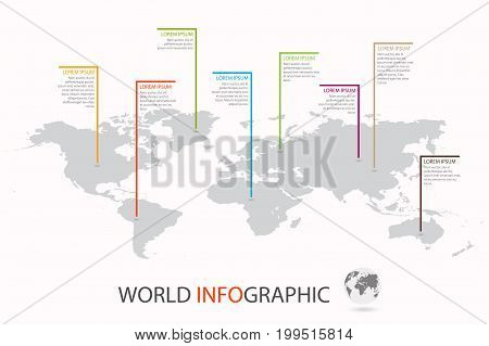 World infographic template. World map with marker on each continent. Vector