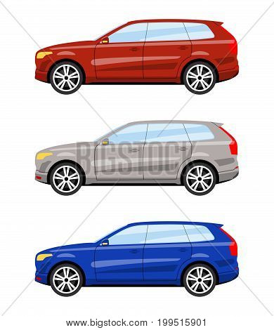 Set of cars side view different colors. Suv car icon detailed. Vector illustration.