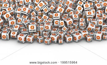 Heap of white bloocks with Bitcoin cryptocurrency symbol. Bitcoin mining concept 3D illustration.