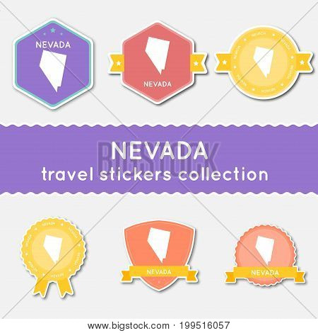 Nevada Travel Stickers Collection. Big Set Of Stickers With Us State Map And Name. Flat Material Sty