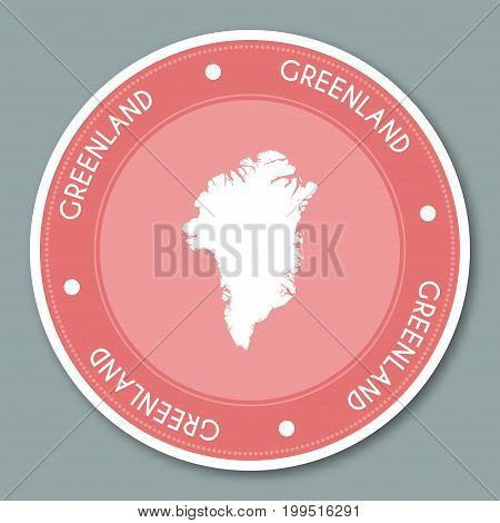 Greenland Label Flat Sticker Design. Patriotic Country Map Round Lable. Country Sticker Vector Illus