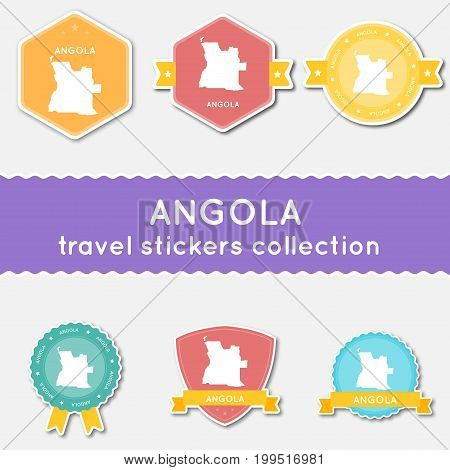 Angola Travel Stickers Collection. Big Set Of Stickers With Country Map And Name. Flat Material Styl