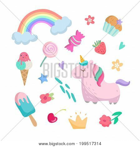 Fashion patch badges with unicorns, hearts, cats, rainbow and other elements for girls. Vector illustration isolated on white background. Set of stickers, pins, patches in cartoon cstyle.