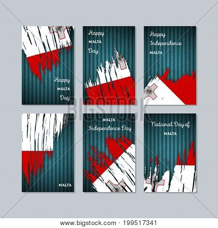 Malta Patriotic Cards For National Day. Expressive Brush Stroke In National Flag Colors On Dark Stri
