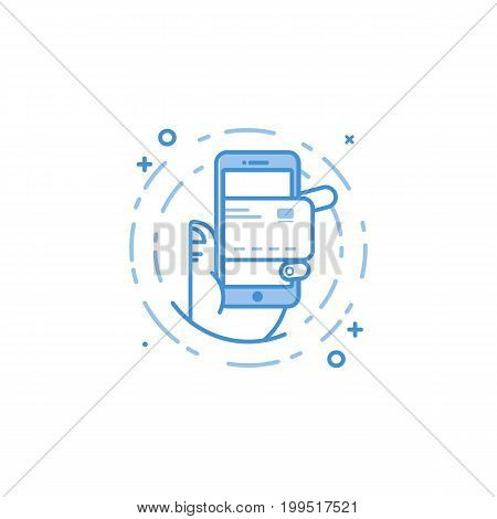 Vector business illustration of blue colors hand and mobile phone with credit card icon in line style. Graphic design concept of experience internet banking. Use in Web Project and app. Outline object
