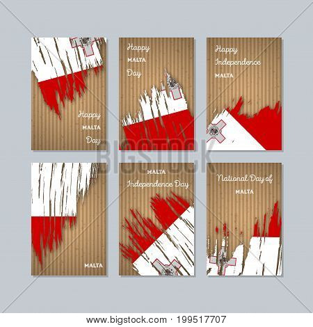 Malta Patriotic Cards For National Day. Expressive Brush Stroke In National Flag Colors On Kraft Pap
