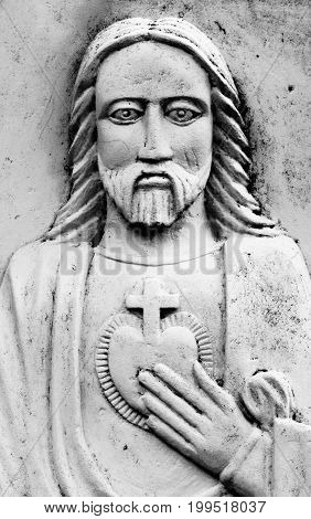 detail of sculpture of Jesus Christ close up
