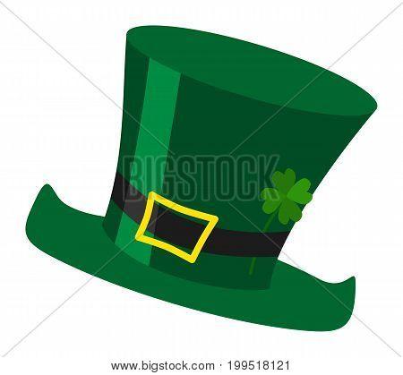 Green irish St. Patrick's day leprechaun hat illustration with cloverleaf isolated on white background