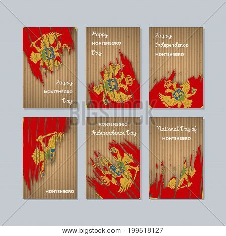 Montenegro Patriotic Cards For National Day. Expressive Brush Stroke In National Flag Colors On Kraf