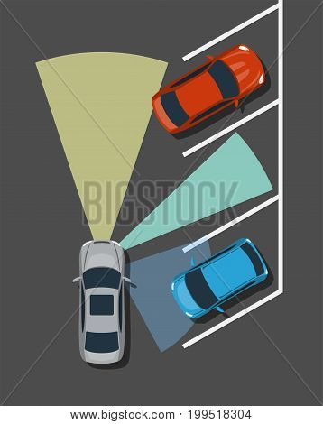 Autonomous car parking top view. Self driving vehicle with radar sensing system. Driverless automobile parking. Vector illustration.
