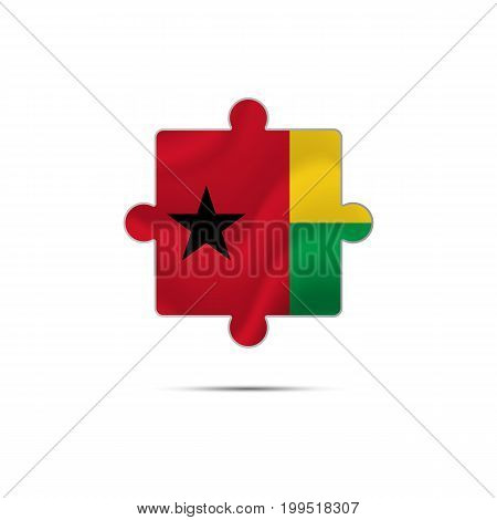 Isolated piece of puzzle with the Guinea-Bissau flag. Vector illustration.