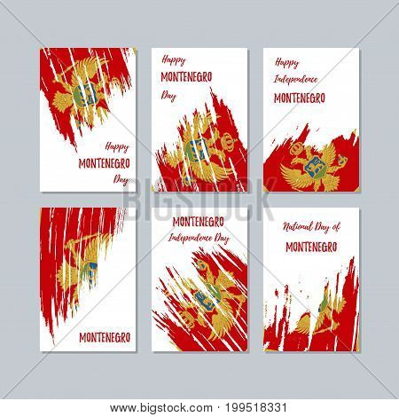 Montenegro Patriotic Cards For National Day. Expressive Brush Stroke In National Flag Colors On Whit