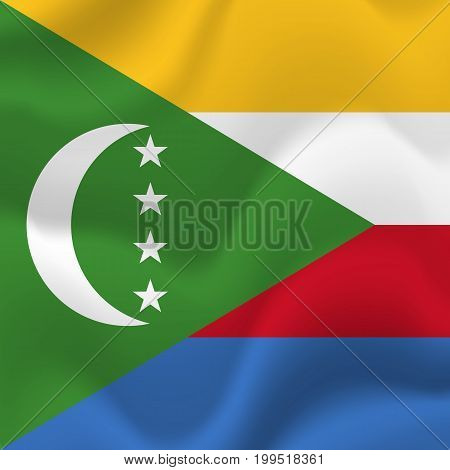 Comoros waving flag. Waving flag. Vector illustration.