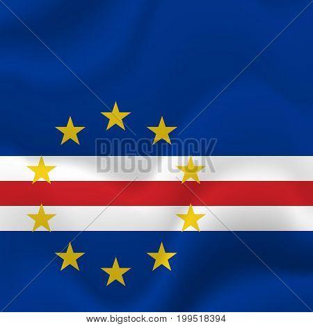 Cape Verde waving flag. Waving flag. Vector illustration.