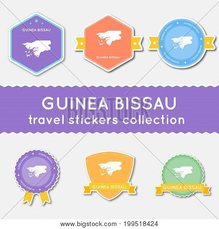 Guinea-bissau Travel Stickers Collection. Big Set Of Stickers With Country Map And Name. Flat Materi