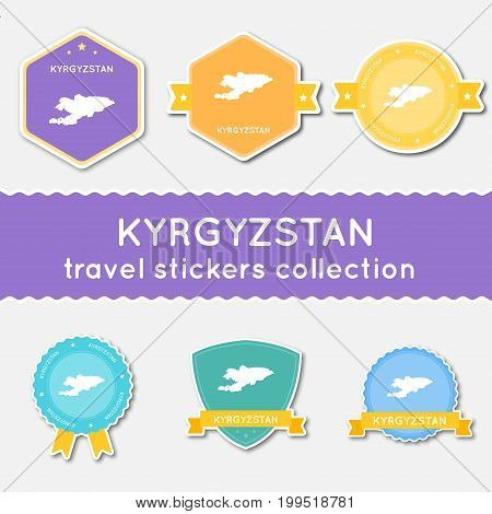 Kyrgyzstan Travel Stickers Collection. Big Set Of Stickers With Country Map And Name. Flat Material