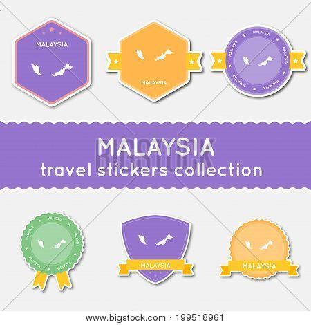 Malaysia Travel Stickers Collection. Big Set Of Stickers With Country Map And Name. Flat Material St